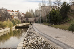 Park of the city of Guadalajara, Spain. Canal of the river Henar Royalty Free Stock Photography