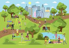 Park in the city. royalty free illustration