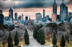 Park and city skyline Royalty Free Stock Image