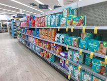 Baby diapers for sale. Park City, UT, 12/28/2018: Baby diapers on the shelves of a Walgreens drug store stock photo