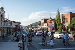 Park City, Utah. Park City, Utah: July 31, 2017: Park City, Utah.  Park City, Utah has two ski lodges and is also home of the Sundance Film Festival Royalty Free Stock Photo