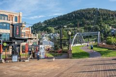 Park City, Utah. Park City, Utah: July 31, 2017: Park City, Utah.  Park City, Utah has two ski lodges and is also home of the Sundance Film Festival Stock Photography