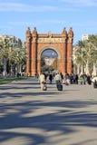 Park Ciutadella and Arc de Triomf in Barcelona, Spain. BARCELONA, CATALONIA, SPAIN - DECEMBER 12, 2011: Park Ciutadella and Arc de Triomf in Barcelona Stock Photography