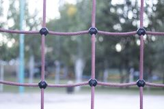 Park climbing ropes frame. For chikdren and adults to climb and train calisthenics bodyweight fitness Royalty Free Stock Image
