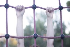 Park climbing ropes frame. For chikdren and adults to climb and train calisthenics bodyweight fitness Stock Image