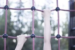 Park climbing ropes frame. For children and adults to climb and train calisthenics bodyweight fitness Stock Images