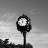 Park clock black white Stock Photo
