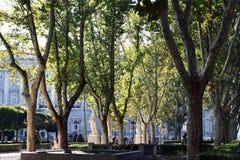 Park close to Royal Palace in Madrid Royalty Free Stock Photos