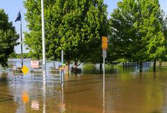 Park Closed due to Flooding. Derby, USA - May 23, 2016: Park closed due to flooding after heavy rain Stock Photo