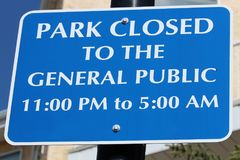 Park closed to the general public sign Stock Photography