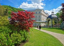 Park Colonnade at Karlovy Vary. Karlovy vary, Czech republic - May 5, 2014: Park Colonnade at Karlovy Vary, in Czech republic. People on the background Royalty Free Stock Photography