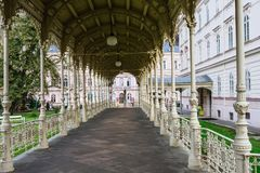 The Park Colonnade served at the end of the 19th century, Karlovy Vary royalty free stock photography