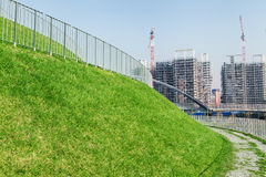 Park with construction site Stock Image