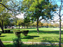 Park in Corfu Island. Large park with trees and lawns in Corfu Island, Greece Royalty Free Stock Images
