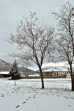 Park covered by snow. Small park in a village of northern Greece covered by snow Stock Photography