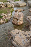 Park creek. Landscaping with artificial creek in the park Stock Photo