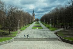 Park crops on the island of Kant in Kaliningrad Stock Photos
