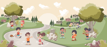 Park with cute cartoon kids playing. Sports and recreation Stock Photos