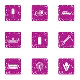 Park day icons set, grunge style vector illustration