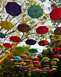 Park decorated with umbrellas Royalty Free Stock Photography
