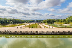 The park and the decorative fence of channel in the estate of Vaux-le-Vicomte, France Royalty Free Stock Images