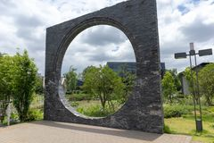 Decorative stone brick arch-building structure. In the park, decorative stone brick arches, classical Chinese garden style, good ornamentation Stock Photography