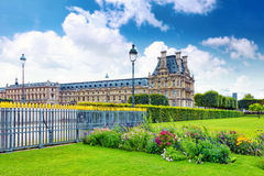 Park des Tuileries and the Louvre Museum.Paris, France.  Royalty Free Stock Photography