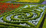 Park design. The city park city of Stavropol is a fine example of art park. Flower carpets in different colors and shapes, striking in its beauty Stock Photo