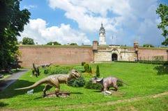 Park of dinosaurs near Belgrade Fortress Kalemegdan royalty free stock photo