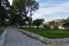 Park and dock, city of Trogir royalty free stock photo