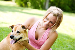 Park: Dog Owner and Pet In Park royalty free stock photography