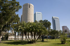 Park in Downtown Tampa Florida. Park in Downtown Tampa Bay Florida with Trees and Blue Sky Royalty Free Stock Images