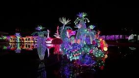 Park Dubai garden glow. Dubai, UAE - December 3, 2018: Fragments of luminous figures of the Park Dubai Garden Glow stock footage