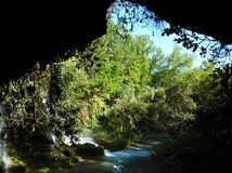 Park Duden, Antalya. Park Waterfall Duden in Antalya, Turkey. Looking from the cave. Nature travel background Royalty Free Stock Photo