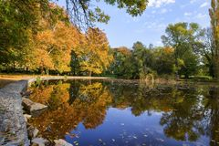 Park in the early fall with the lake. Park in the early fall with the lake stock image