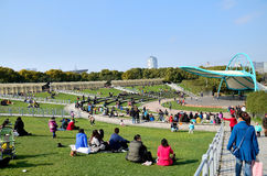 Park in early spring. Casual crowd in park,in Spring Stock Photography