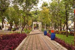 Park in einem Wohngebiet Taman Slamet an zweiter Stelle Stockfotos