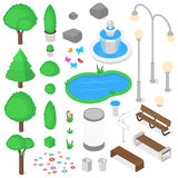 Park elements set. Isolated park elements set. Isometric vector illustration royalty free stock photography