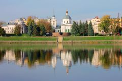 Park on the embankment in the center of Tver. Park on the embankment in the center of the city of Tver, on the background of the river with a reflection of royalty free stock photography