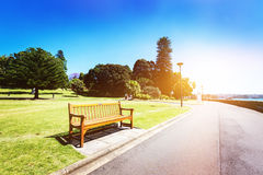 Park empty benches Stock Photo