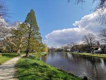 Park en kanaal in Leiden, NL stock foto's
