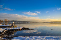 Park en kust dichtbij Fram-Museum in Oslo in de winter royalty-vrije stock fotografie