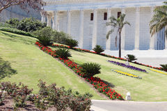 Park ensemble with building with columns Royalty Free Stock Images