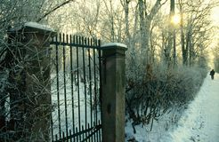 Park entrance gate on a winter day Royalty Free Stock Images