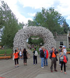 A park entrance made of antlers stock photo