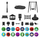 Park, equipment black,flat icons in set collection for design. Walking and rest vector symbol stock web illustration. Park, equipment black,flat icons in set stock illustration