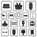 Park, equipment black icons in set collection for design. Walking and rest vector symbol stock web illustration. Park, equipment black icons in set collection Royalty Free Stock Photo