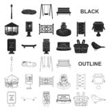 Park, equipment black icons in set collection for design. Walking and rest vector symbol stock web illustration. Park, equipment black icons in set collection stock illustration