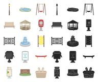 Park, equipment cartoon,black icons in set collection for design. Walking and rest vector symbol stock web illustration. Park, equipment cartoon,black icons in vector illustration