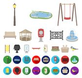 Park, equipment cartoon,flat icons in set collection for design. Walking and rest vector symbol stock web illustration. Park, equipment cartoon,flat icons in stock illustration
